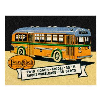 Carte Postale Autobus jumel vintage 35-R de car de rétro kitsch