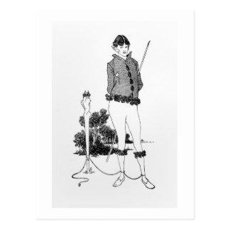 Carte Postale Autoportrait attaché à un Herm (gravure) (phot de