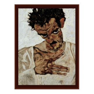 Carte Postale Autoportrait avec sa tête vers le bas par Schiele