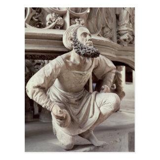 Carte Postale Autoportrait d'Adam Krafft, sculpture en pierre