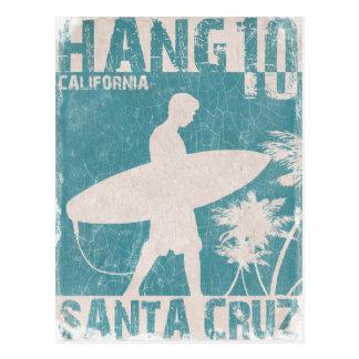 Carte postale avec la copie de surfer de Santa
