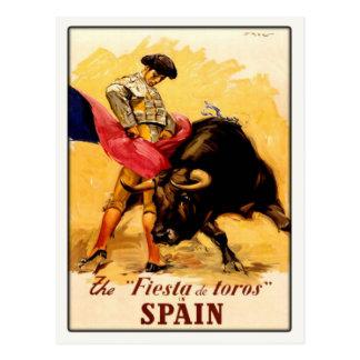Carte postale avec l'affiche espagnole de corrida