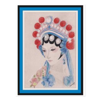 Carte postale avec l'art original, femme d'opéra