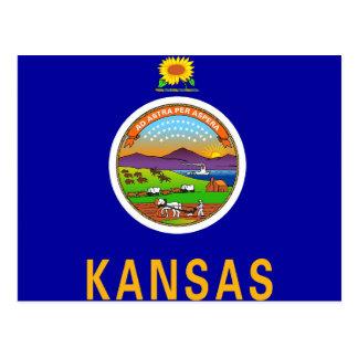Carte postale avec le drapeau de l'état du Kansas