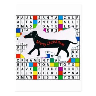 Carte postale avec le thème de chien, de mots