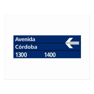 Carte Postale Avenida Córdoba, plaque de rue de Buenos Aires