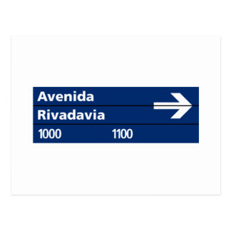 Carte Postale Avenida Rivadavia, plaque de rue de Buenos Aires