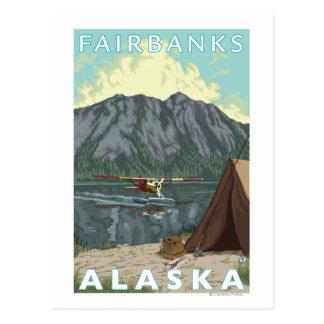 Carte Postale Avion de Bush et pêche - Fairbanks, Alaska