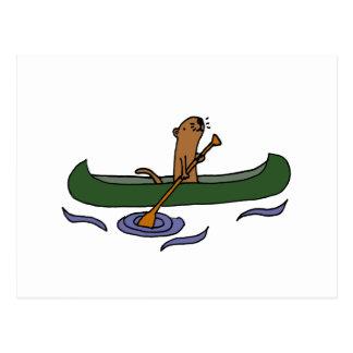 Carte Postale Aviron drôle de loutre de mer dans le canoë