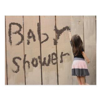 Carte Postale Baby shower de barrière de peinture de fille de