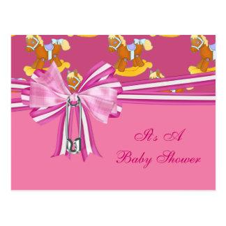 Carte Postale Baby shower de chevaux de basculage de bébé