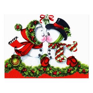 Carte Postale Baisers des couples de bonhomme de neige