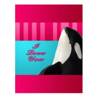 Carte Postale Baleine d'orque de Valentine je t'aime