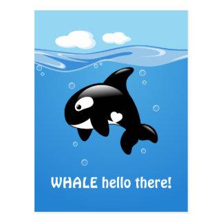 Carte Postale BALEINE mignonne d'orque (bonne) bonjour là