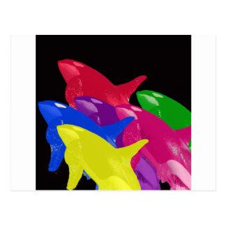 Carte Postale Baleines multiples d'orque multicolores - rouges