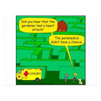 Carte Postale Bande dessinée de crise cardiaque de labyrinthe de