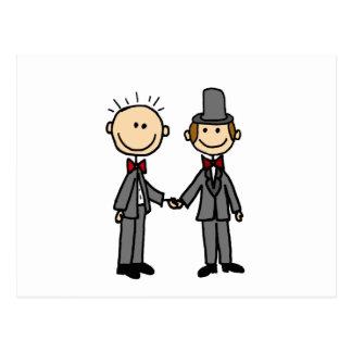 Carte Postale Bande dessinée drôle de mariage homosexuel de