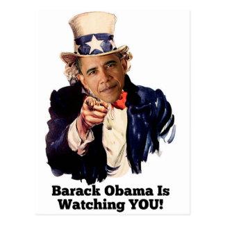 Carte Postale Barack Obama vous observe parodie d'Oncle Sam