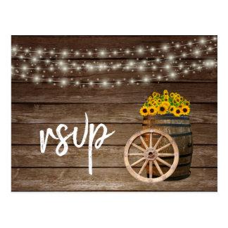 Carte Postale Baril et tournesols en bois rustiques - RSVP