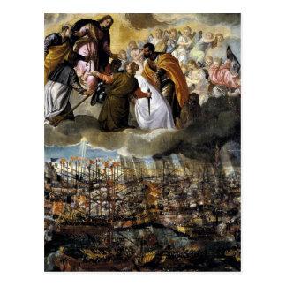 Carte Postale Bataille de Lepanto par Paolo Veronese