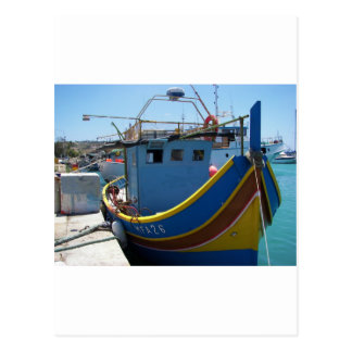 Carte Postale Bateau de pêche maltais coloré