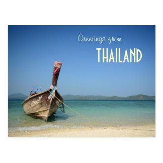 Carte Postale bateau traditionnel de transport de la Thaïlande
