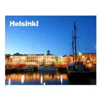 Carte Postale Bateaux au carré du marché de Helsinki la soirée