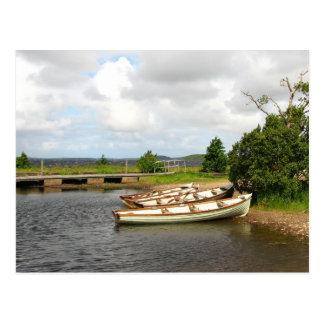 Carte Postale Bateaux d'aviron sur le rivage de lac