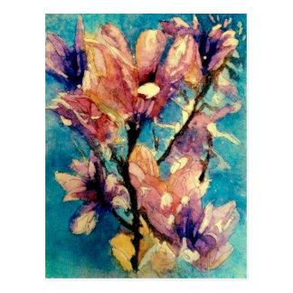 Carte Postale Batik japonais d'aquarelle de magnolia