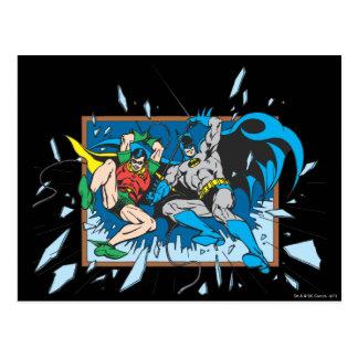 Carte Postale Batman et fenêtre d'éclat de Robin