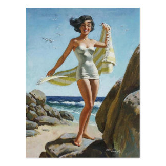 Carte Postale Beach PinUp