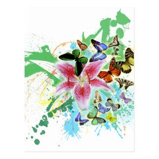 Carte Postale beau spalsh de couleur lilly et papillons