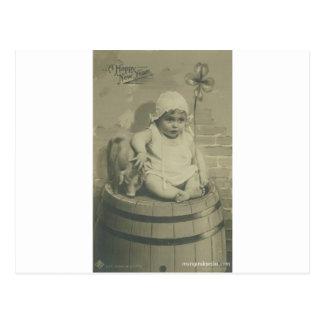 Carte Postale bébé et shamrock