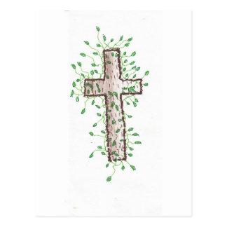Carte Postale Belle croix avec le feuille de lierre
