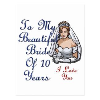 Carte Postale Belle jeune mariée de 10 ans