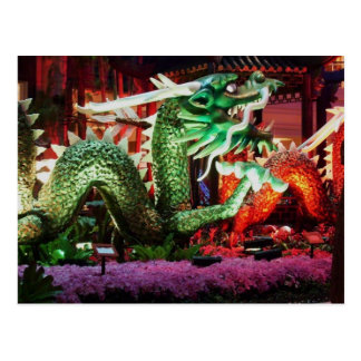 Carte Postale Belle sculpture en art de dragon vert