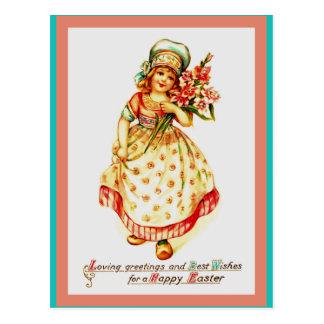 Carte Postale Belle vieille image européenne de Pâques sur la