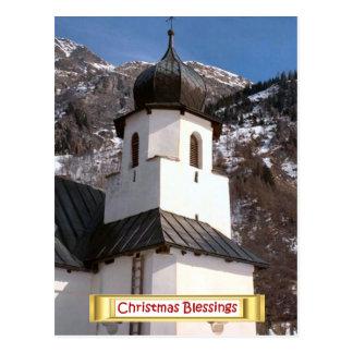 Carte Postale Bénédiction de Noël, église en Suisse
