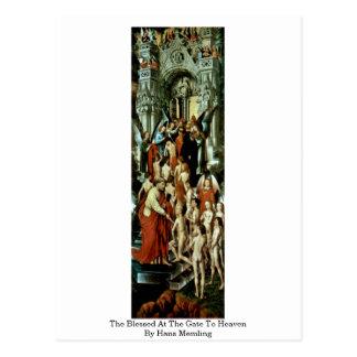Carte Postale Béni à la porte au ciel par Hans Memling