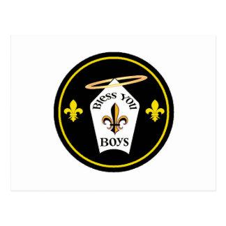 Carte Postale Bénissez-vous emblème de garçons