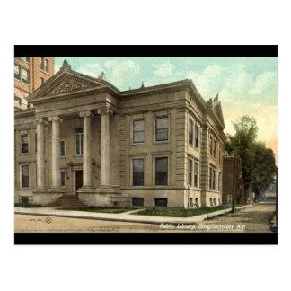 Carte Postale Bibliothèque, cru 1909 de Binghamton NY