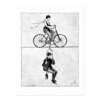 Carte Postale Bicyclette de corde raide - acte de recyclage de