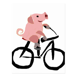 Carte Postale Bicyclette rose drôle d'équitation de porc
