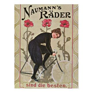 Carte Postale Bicyclette rouge de cru de fleurs