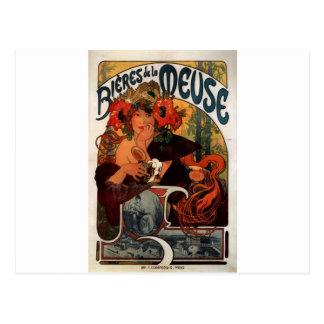 Carte Postale Bière de la Meuse par Alphonse Mucha