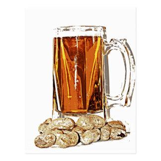 Carte Postale Bière et arachides