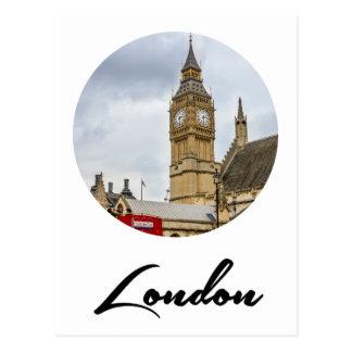 Carte Postale Big Ben, autobus rouge, Londres