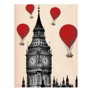 Carte Postale Big Ben et ballons à air d'un rouge ardent 2