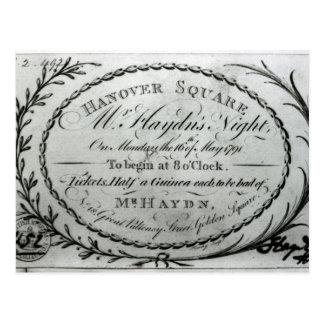 "Carte Postale Billet à ""Night de M. Haydn's"" à Hannovre"