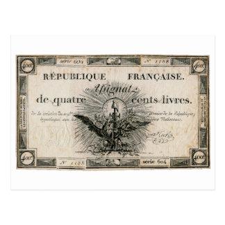 Carte Postale Billet de banque d'Assignat de révolution